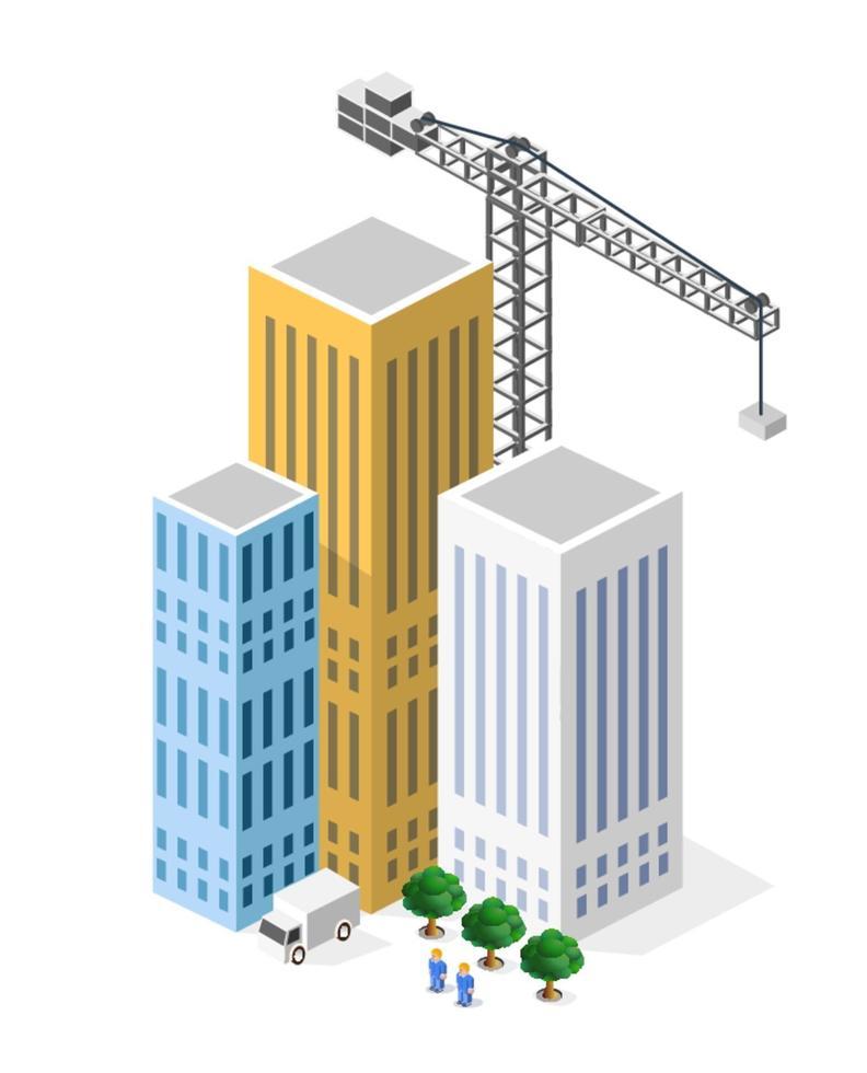 isometría de construcción industrial en la gran ciudad rascacielos en construcción, casas y edificios vector