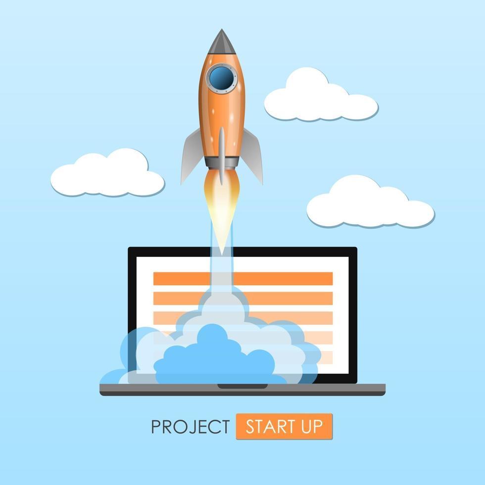 Lanzamiento de un cohete, concepto de puesta en marcha del proyecto, ilustración vectorial vector