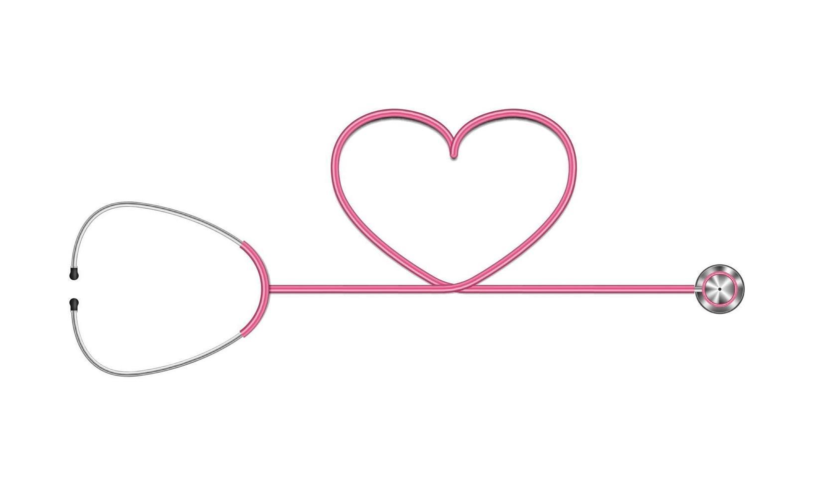 Estetoscopio realista y corazón aislado sobre fondo blanco, ilustración vectorial vector