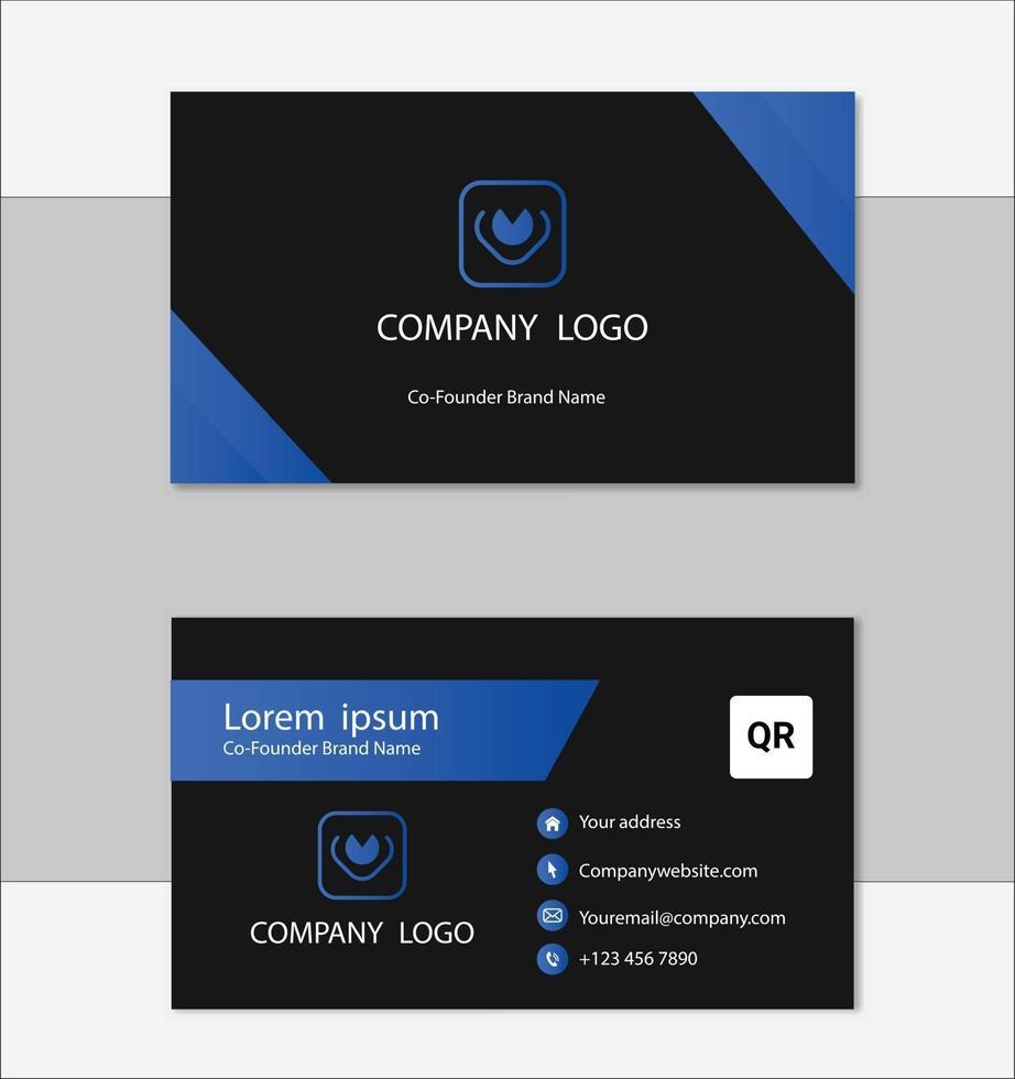 diseño de plantilla de tarjeta de visita geométrica azul y negro vector