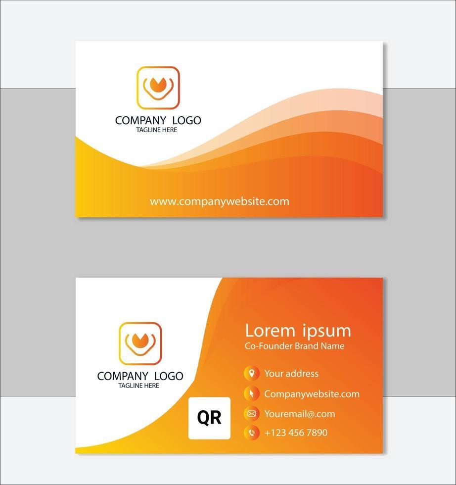 elegante plantilla de tarjeta de visita amarilla y blanca vector
