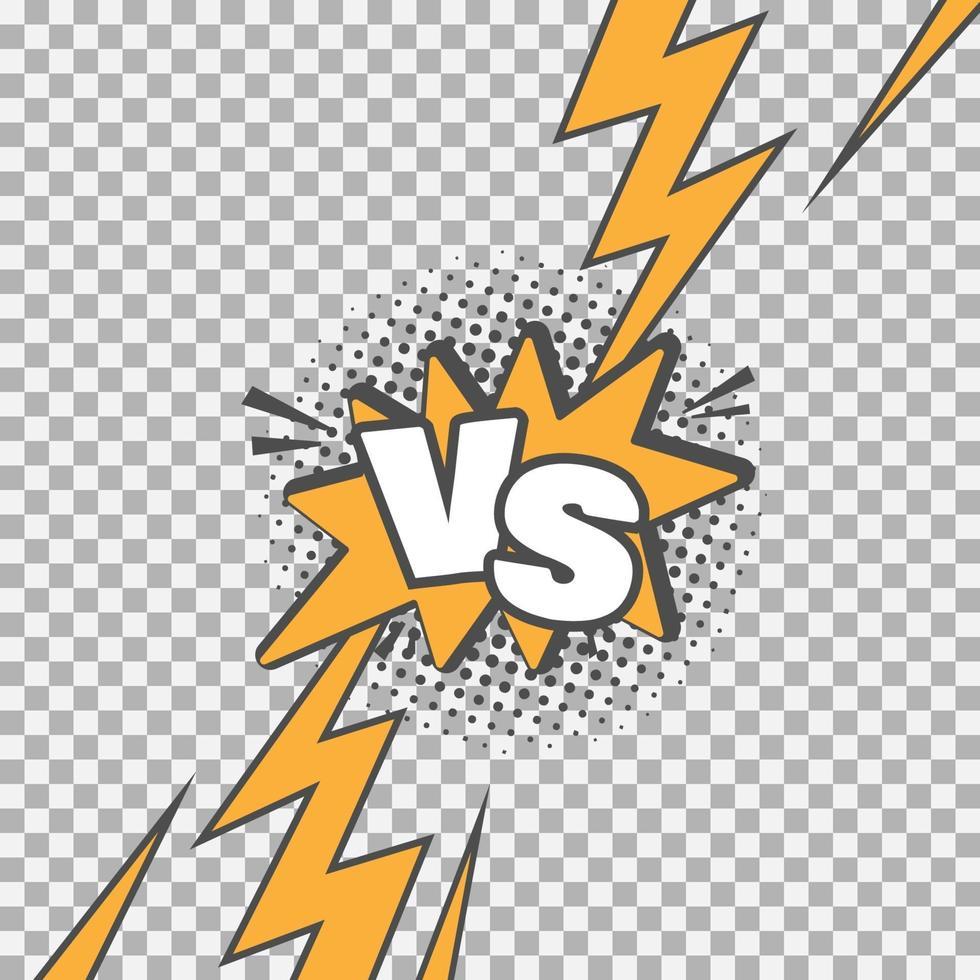 versus vs letras luchan contra el fondo en el diseño de estilo cómic plano con medios tonos, ilustración vectorial vector