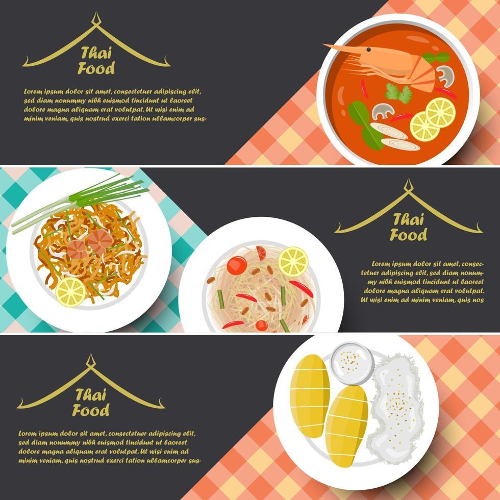 Bandera de comida tailandesa de tradición, ilustración vectorial vector