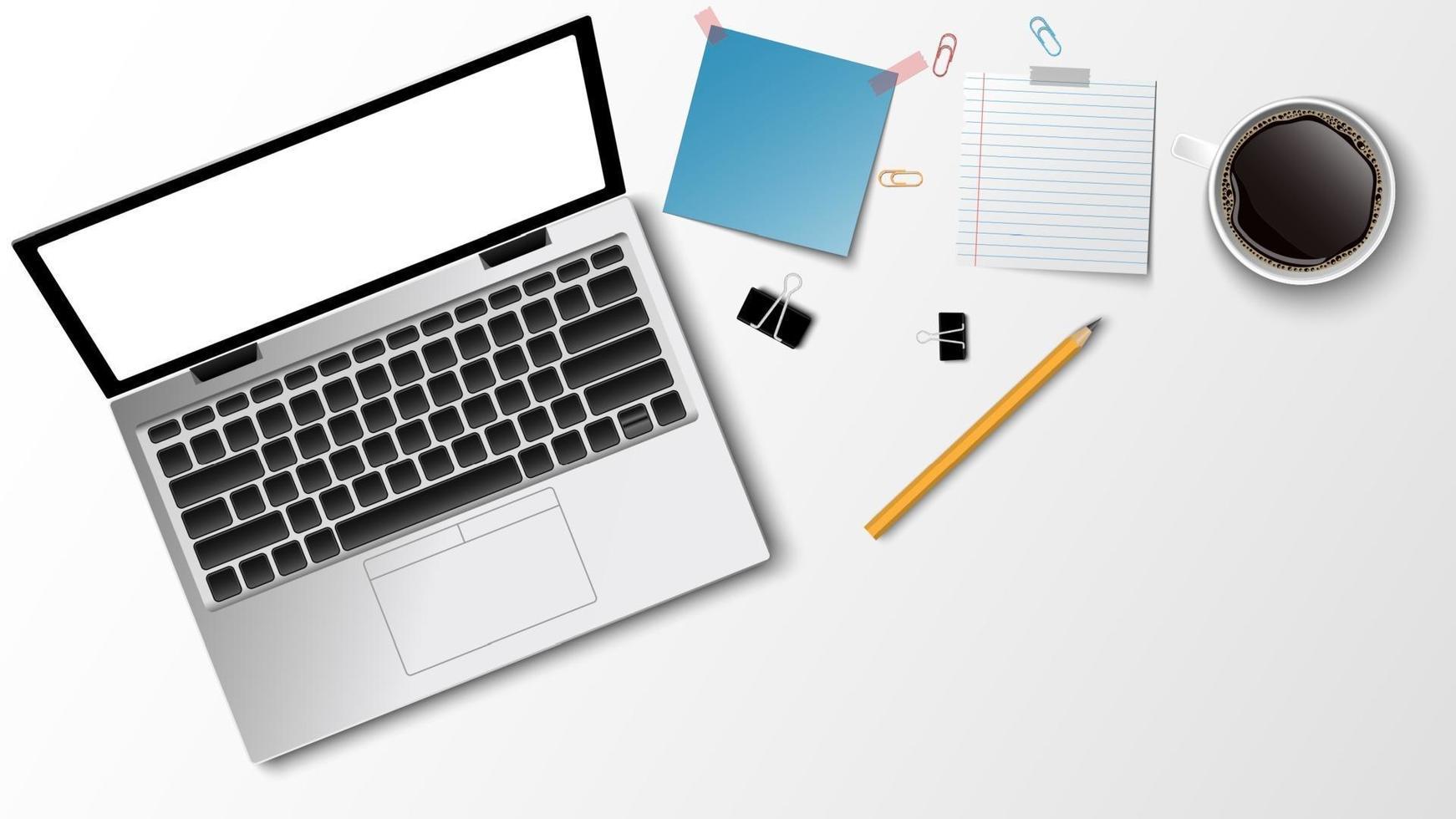 Vista superior del lugar de trabajo moderno, lápiz de nota de papel de café portátil sobre el fondo blanco y espacio para copiar texto, concepto de negocio, ilustración vectorial vector