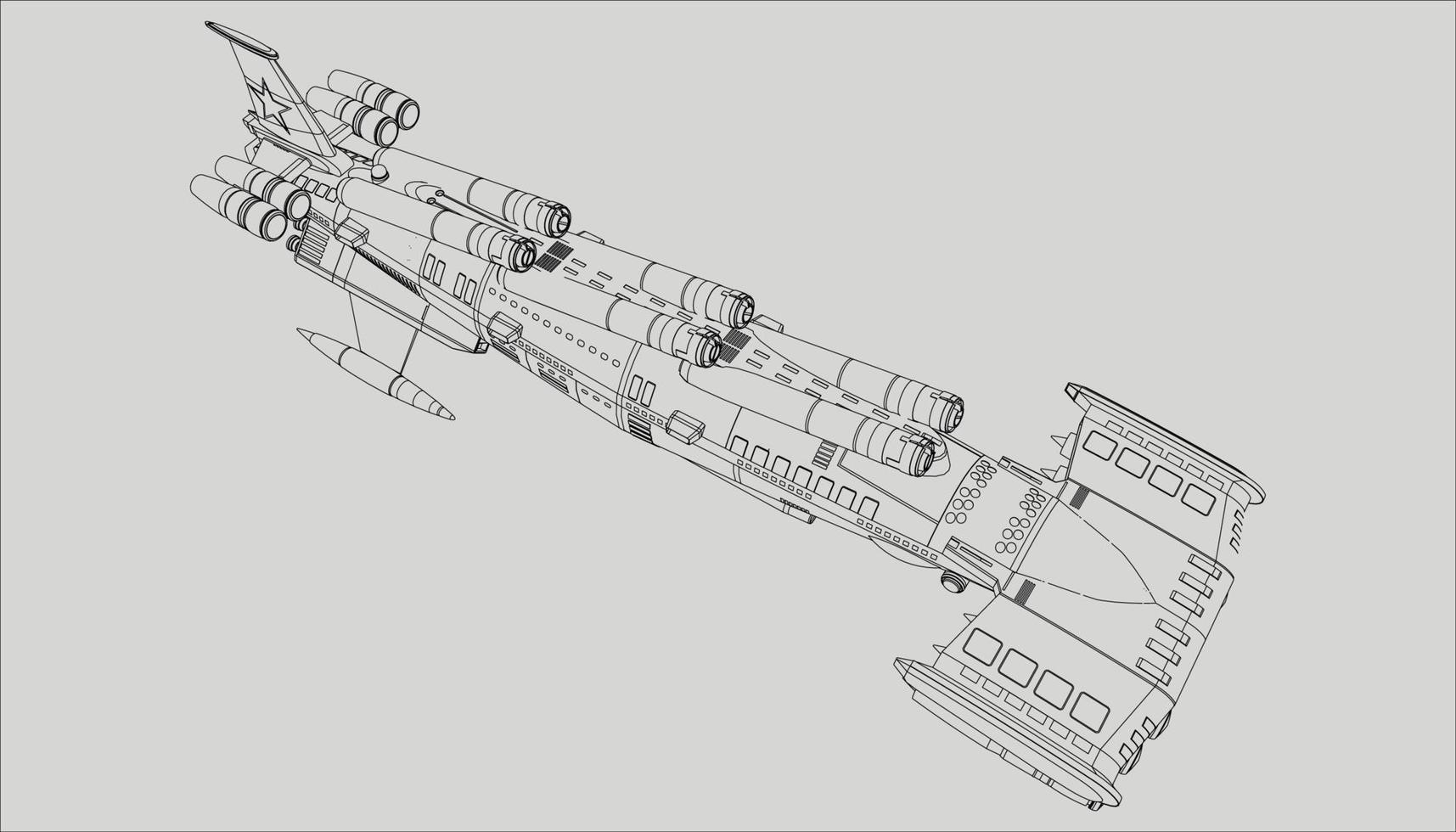 lineart de la nave espacial vector