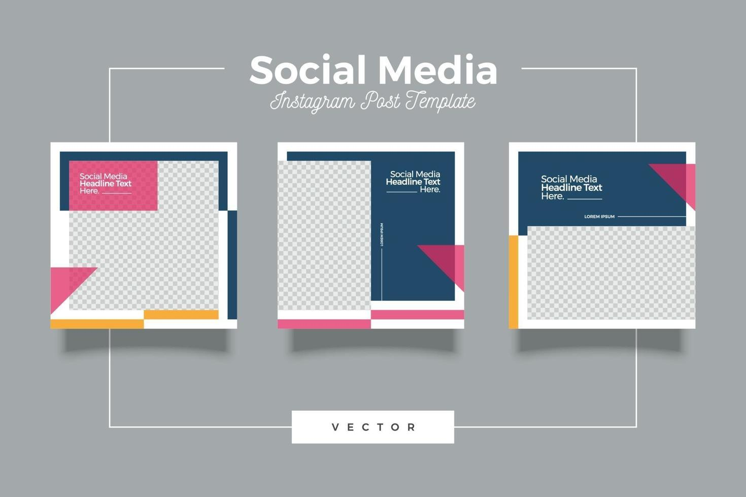 conjunto de banner de plantilla de redes sociales minimalista de moda vector