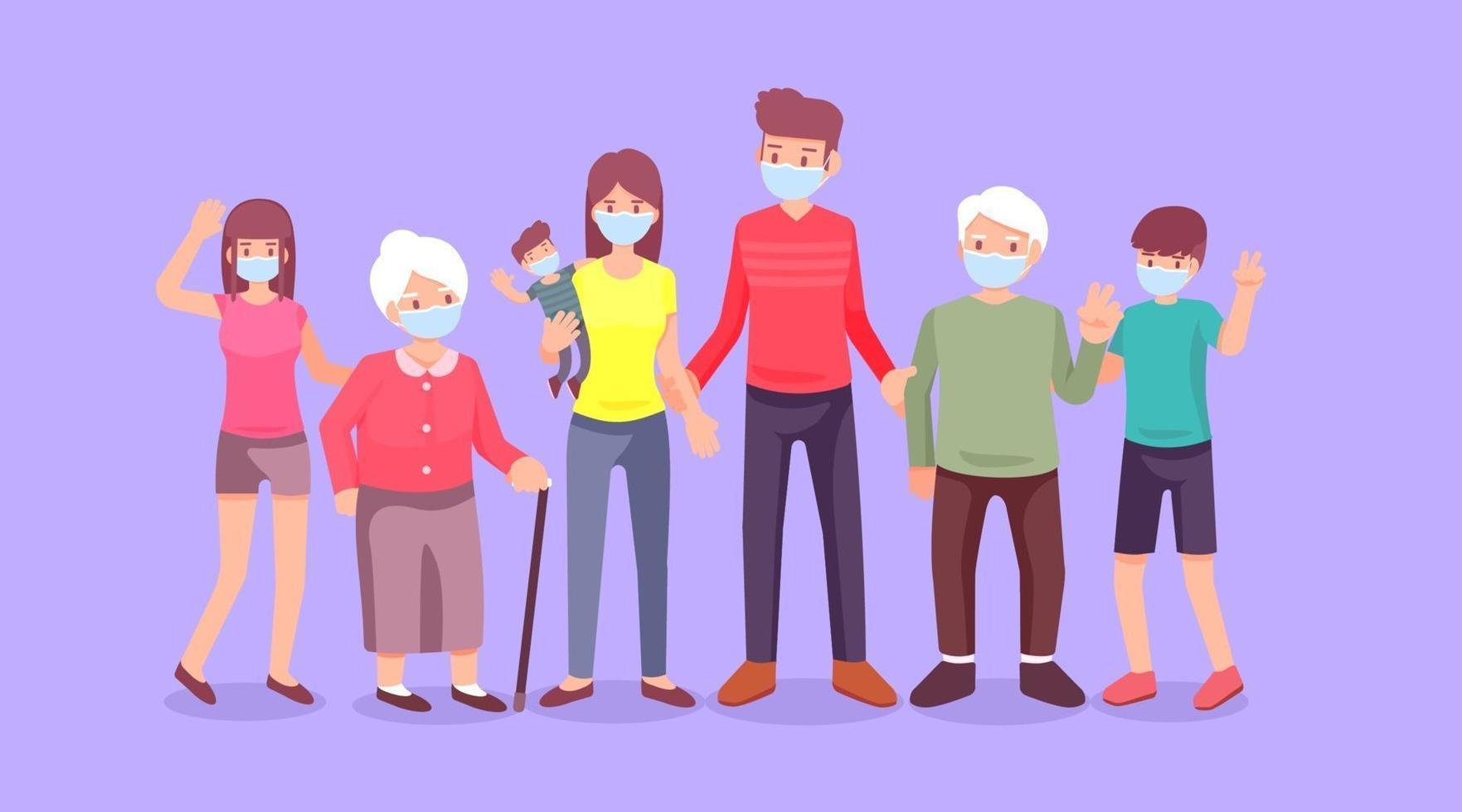 propagación de virus, coronavirus, familia, personas, madre y padre con bebés, niños y abuelos, diseño plano de ilustración vectorial vector