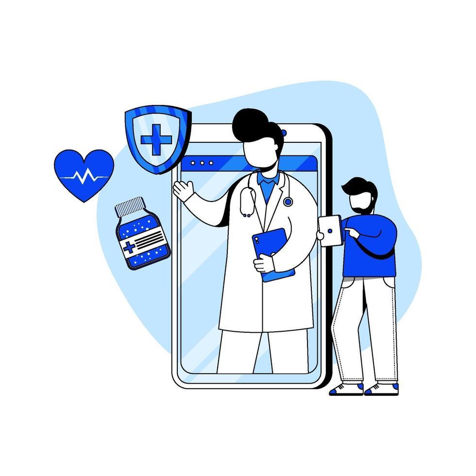 concepto de icono de médico y salud en línea vector