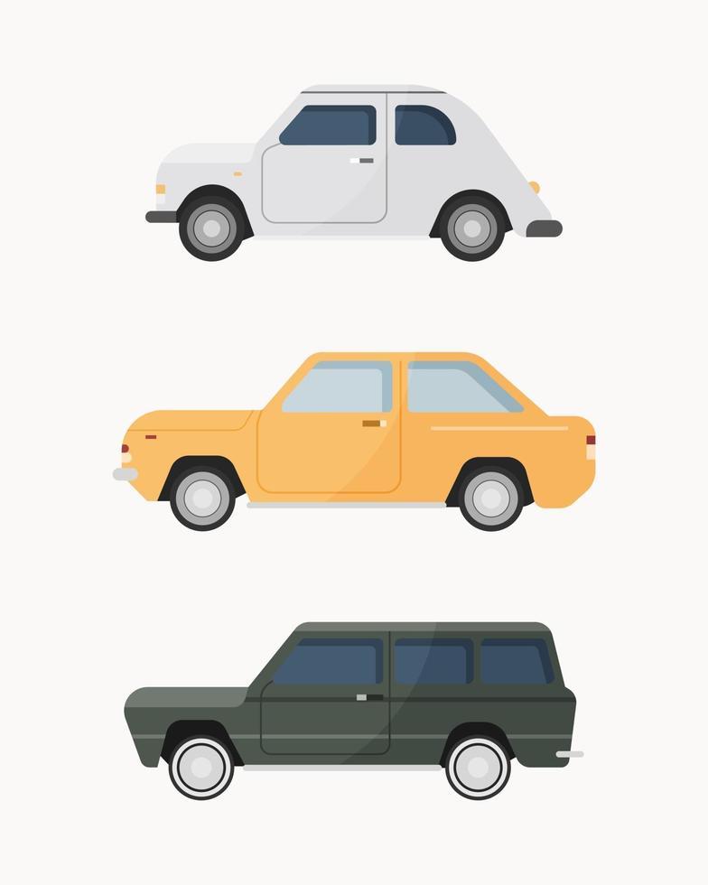 conjunto de coches clásicos. Ilustración de vector de coches antiguos.