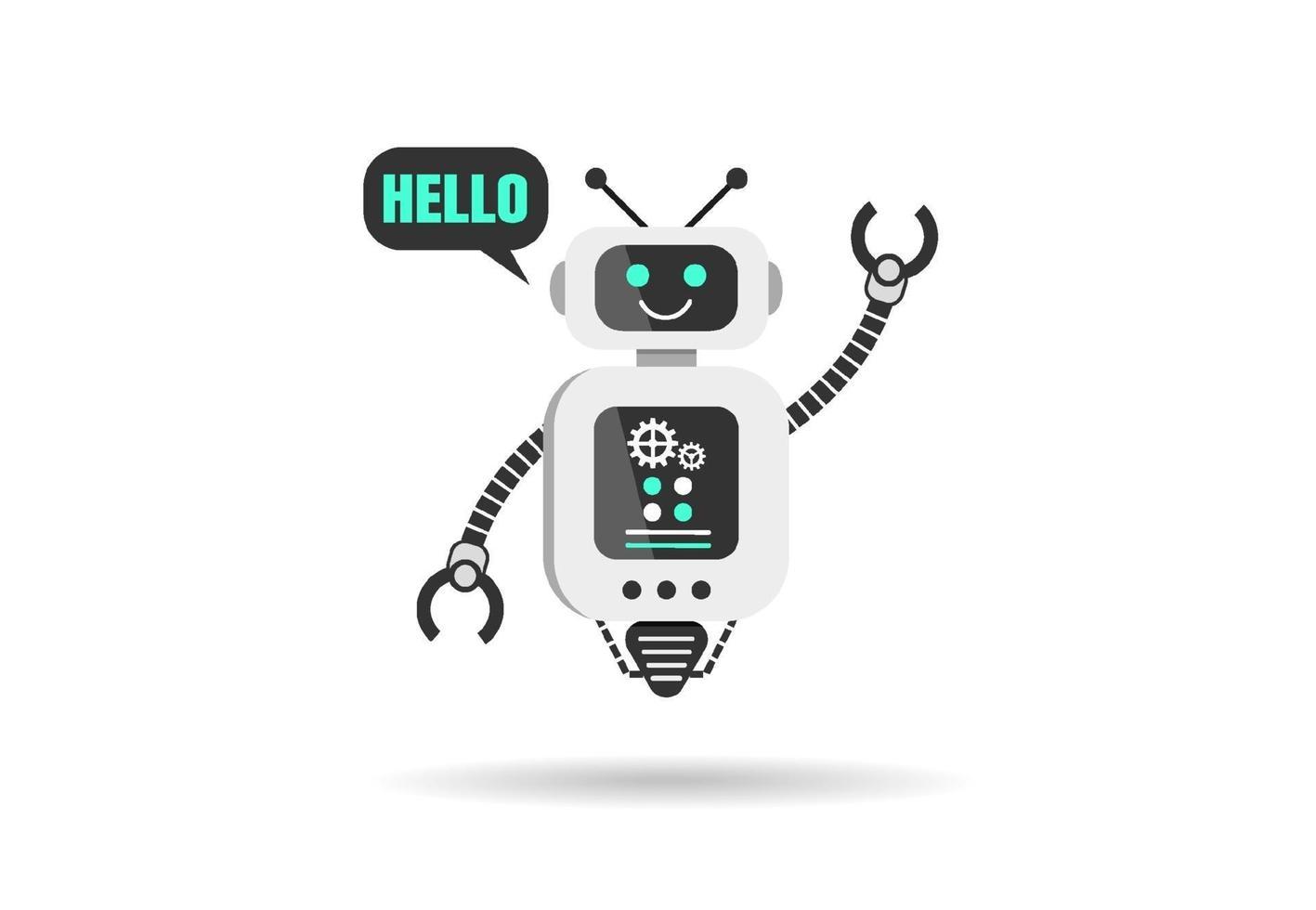 robot dice hola icono diseño plano. bot de chat de servicio al cliente sobre fondo blanco. ilustración vectorial vector