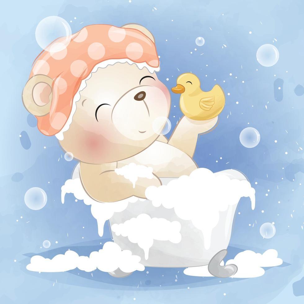 Cute bear with ducky illustration vector