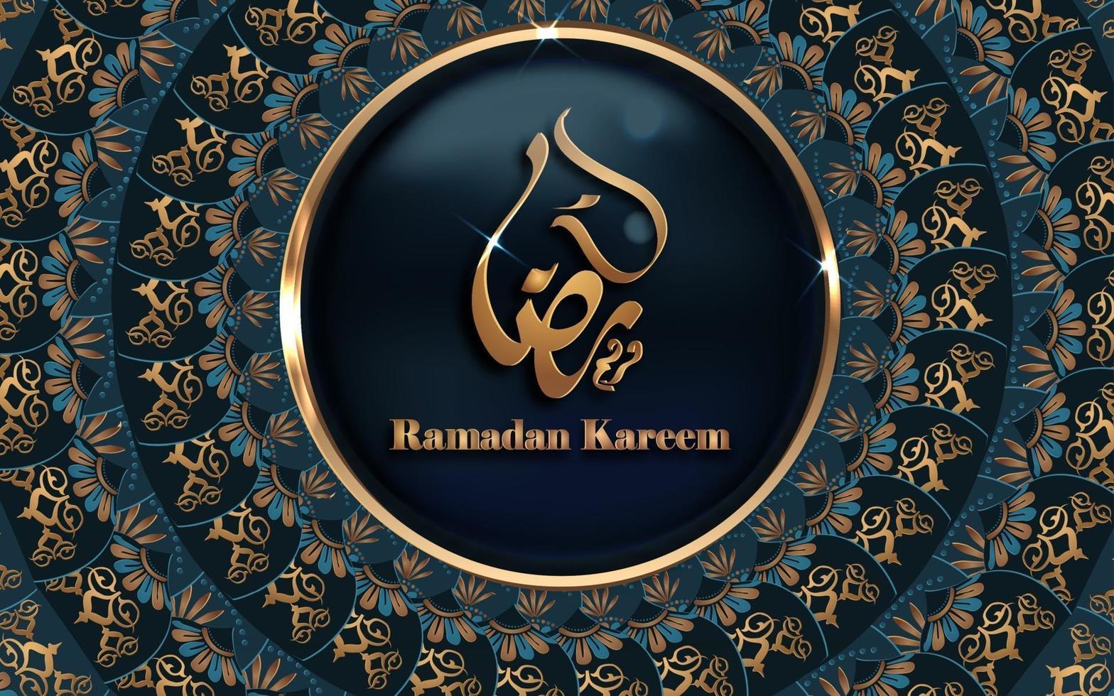 ramadan kareem calligraphy golden mandala design vector