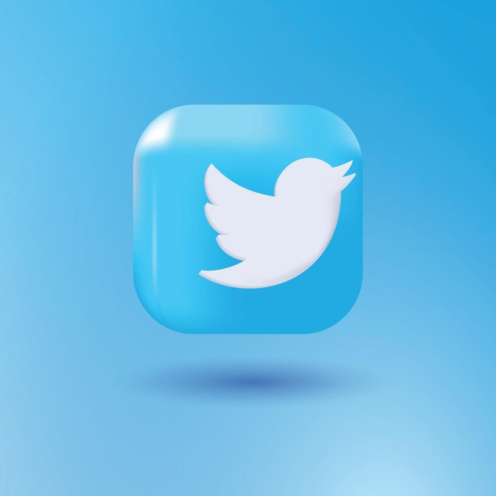 Twitter 3d icon vector