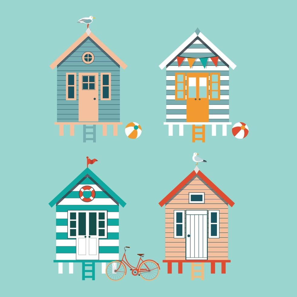Set of colourful beach huts with seagull, flags, bike on blue background. Vector illustration.