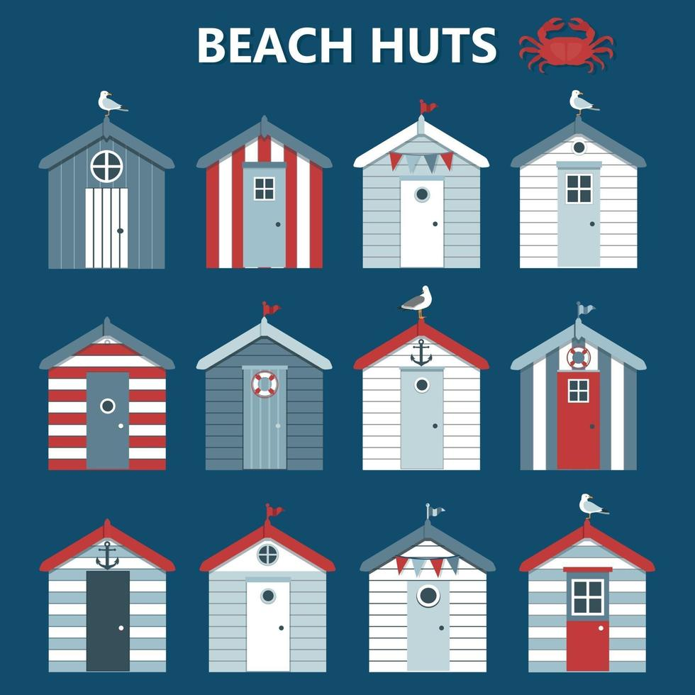 Set of colourful beach huts with seagull, flags on blue background. Vector illustration.