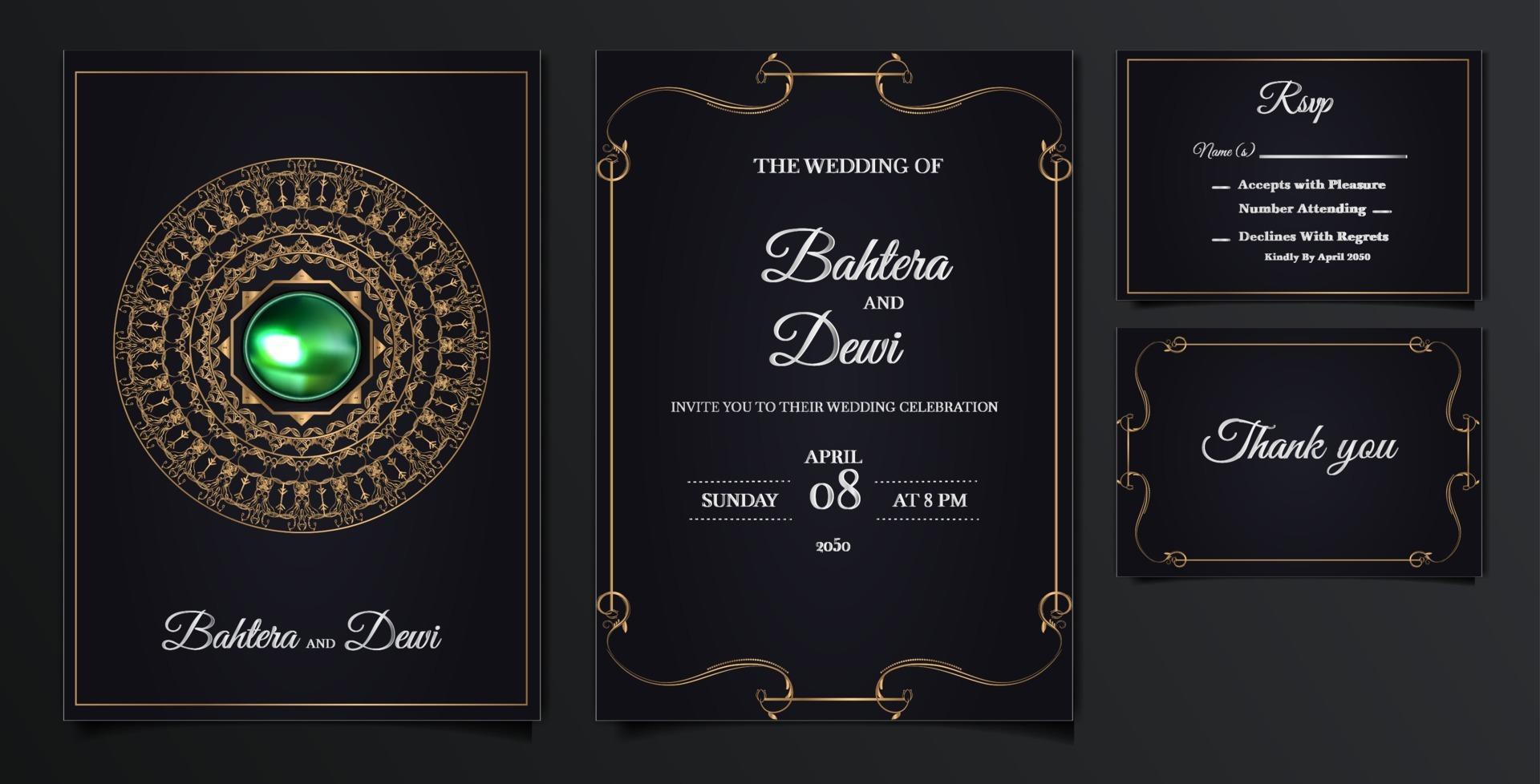 elegant wedding invitation cards set vector