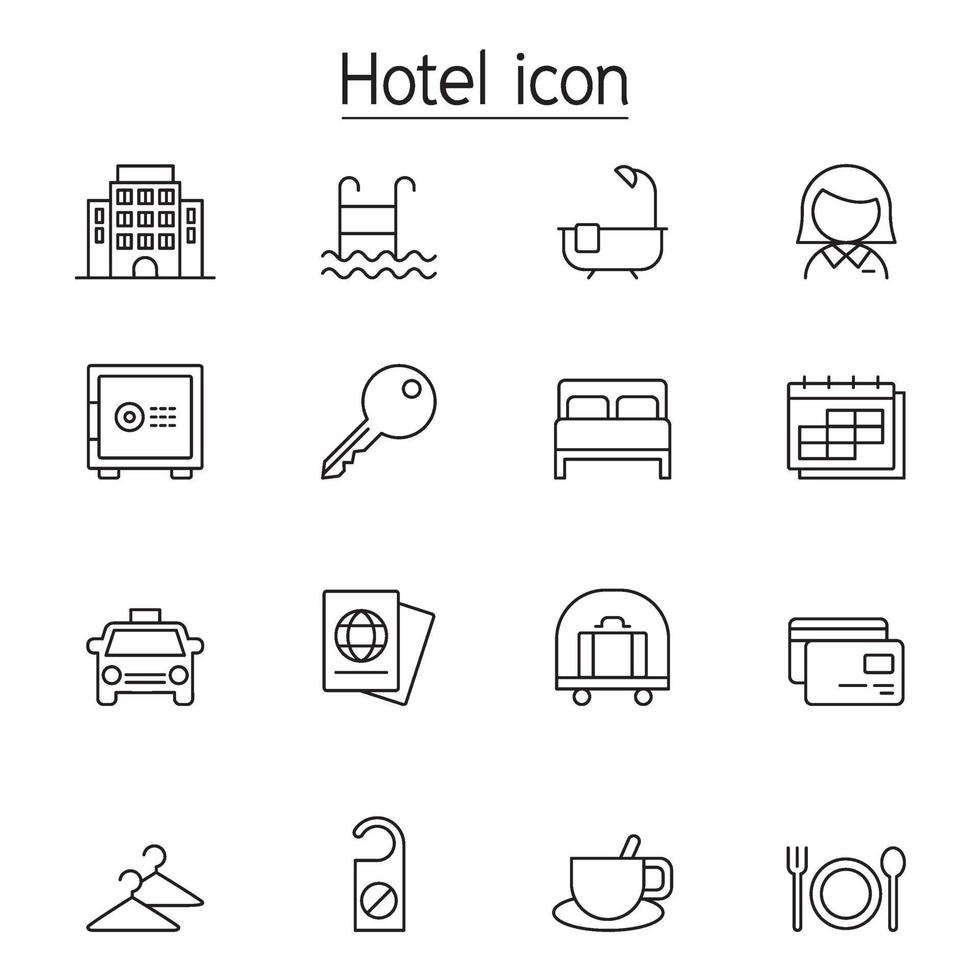 Hotel icon set in thin line style vector illustration graphic design