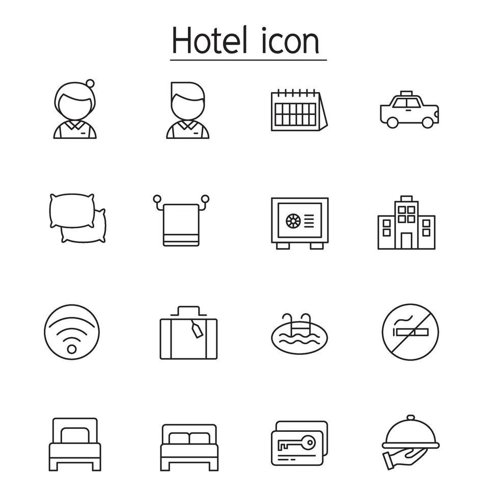 Hotel icon set in thin line style vector