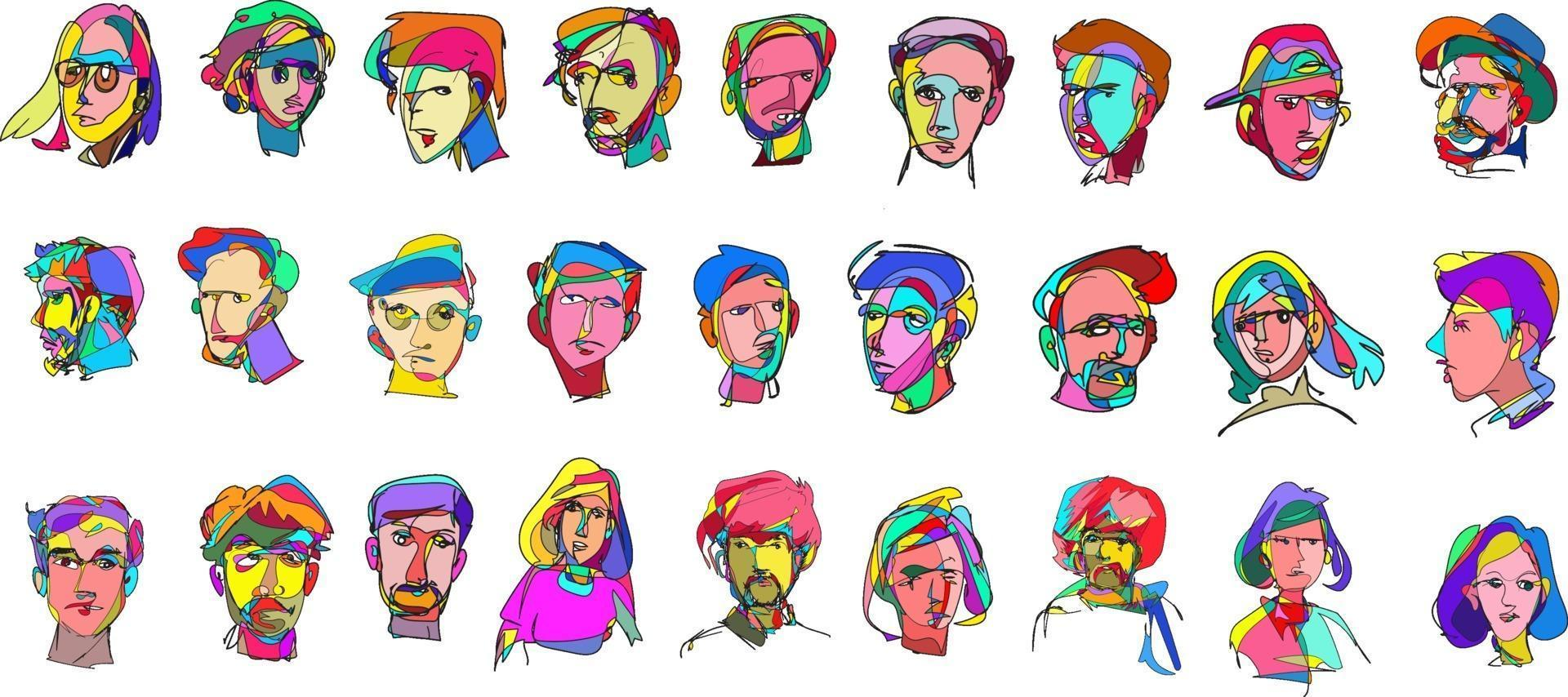 Illustration of colorful surreal abstract human heads in continuous line art drawing style vector
