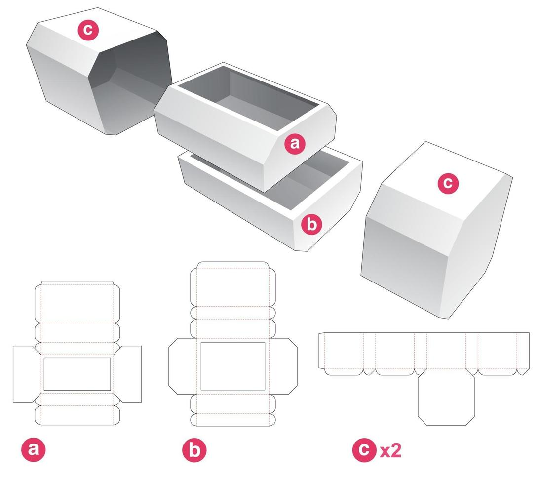 Two chamfered drawers and chamfered cover die cut template vector