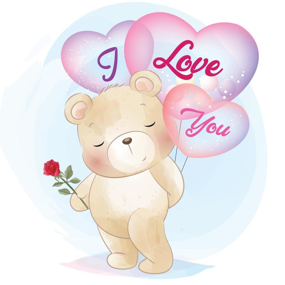 Cute bear holding a balloon illustration vector