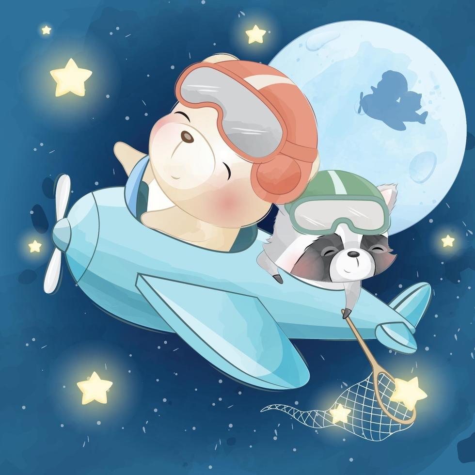 Cute bear with raccoon in airplane illustration vector