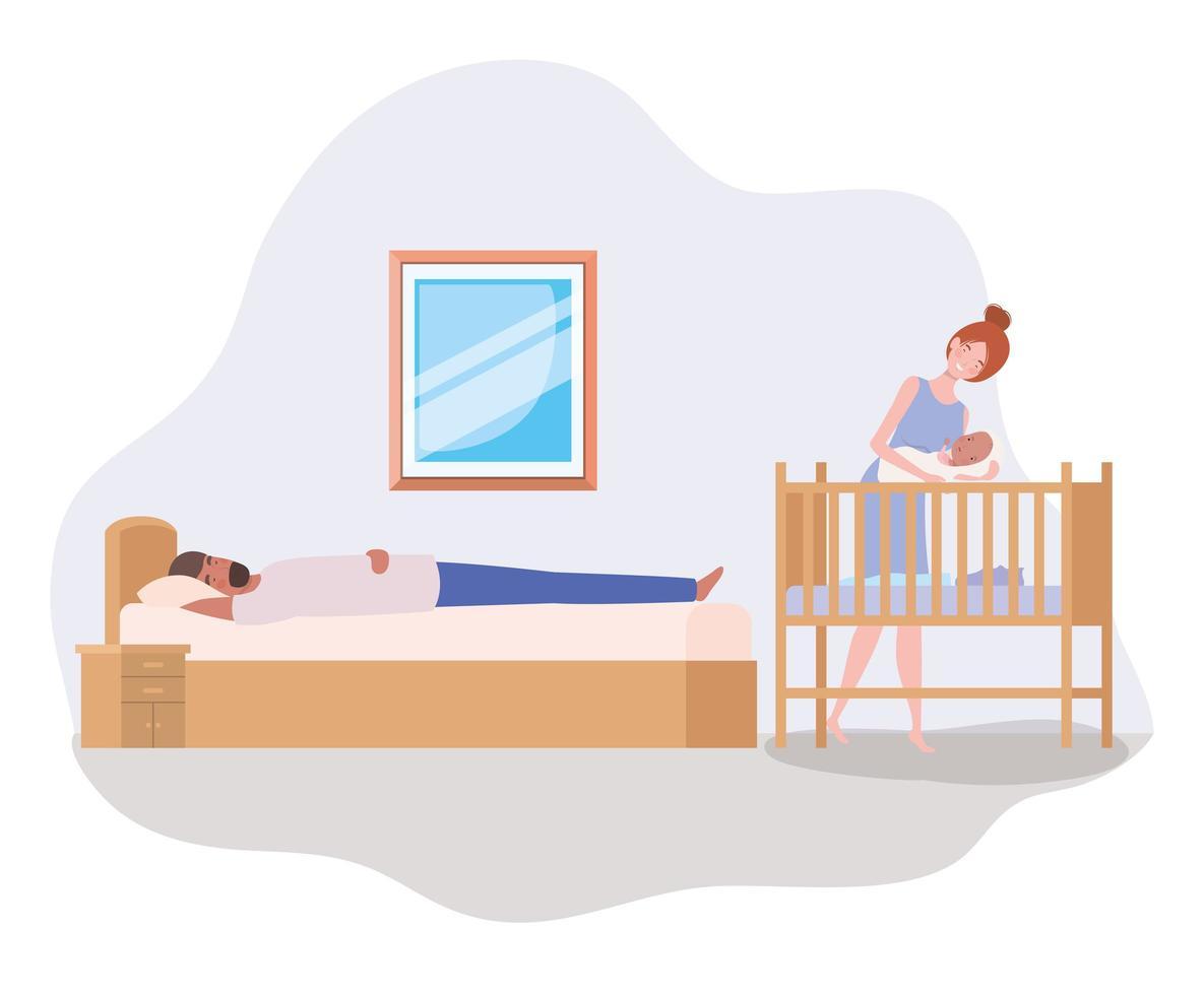 padres cuidando a un bebé recién nacido vector