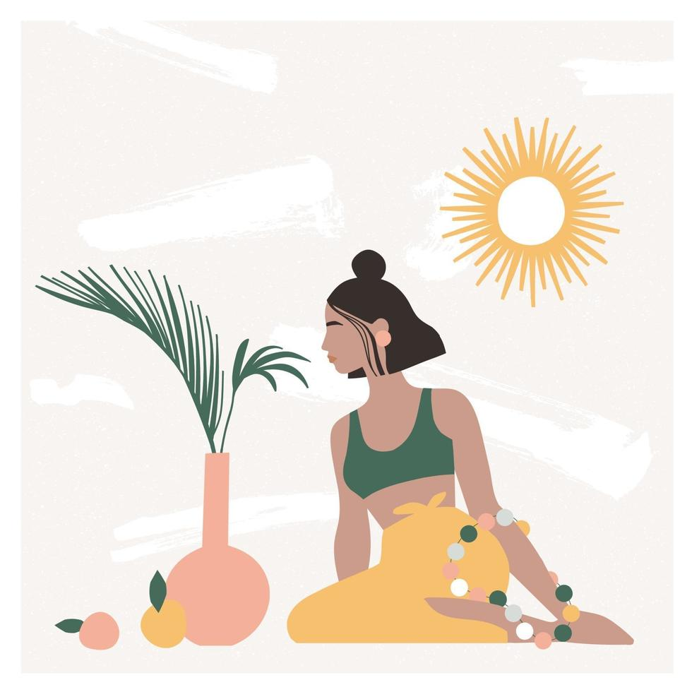 Beautiful bohemian woman sitting on the floor in modern interior with vases, palm leaves, mirror. Summer vacation mood, boho chic art print, terracotta. Flat vector illustration in warm pastel colors.