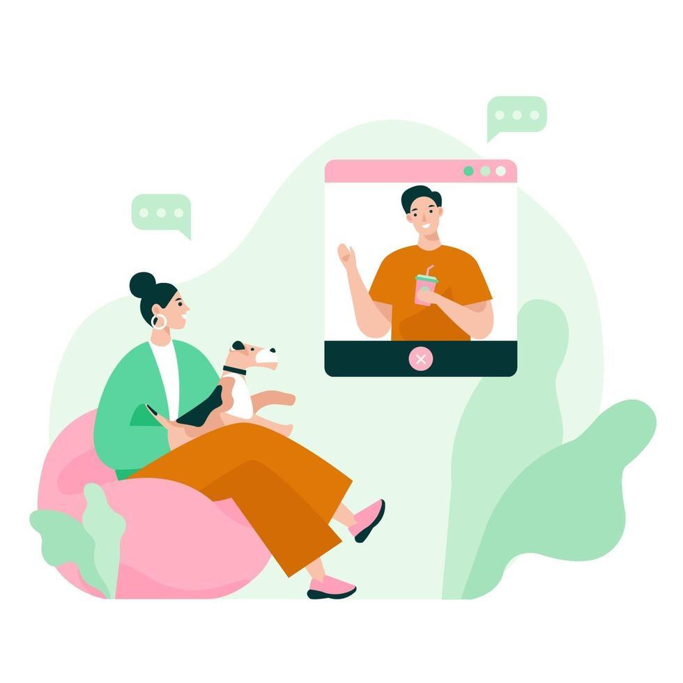dos amigos en video reunión. videollamada conferencia, trabajo desde casa, distanciamiento social, discusión empresarial. ilustración vectorial plana. vector