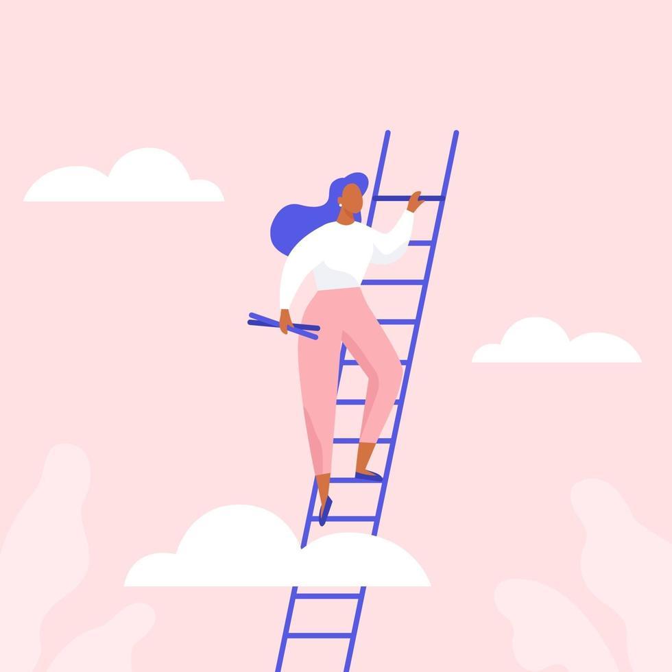 mujer subiendo las escaleras. crecimiento profesional, logro del éxito en los negocios o estudios. vector