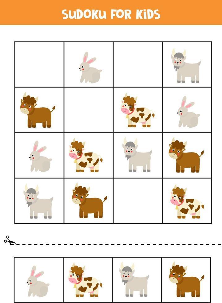 Sudoku game with cartoon farm rabbit, goat, bull and cow. vector