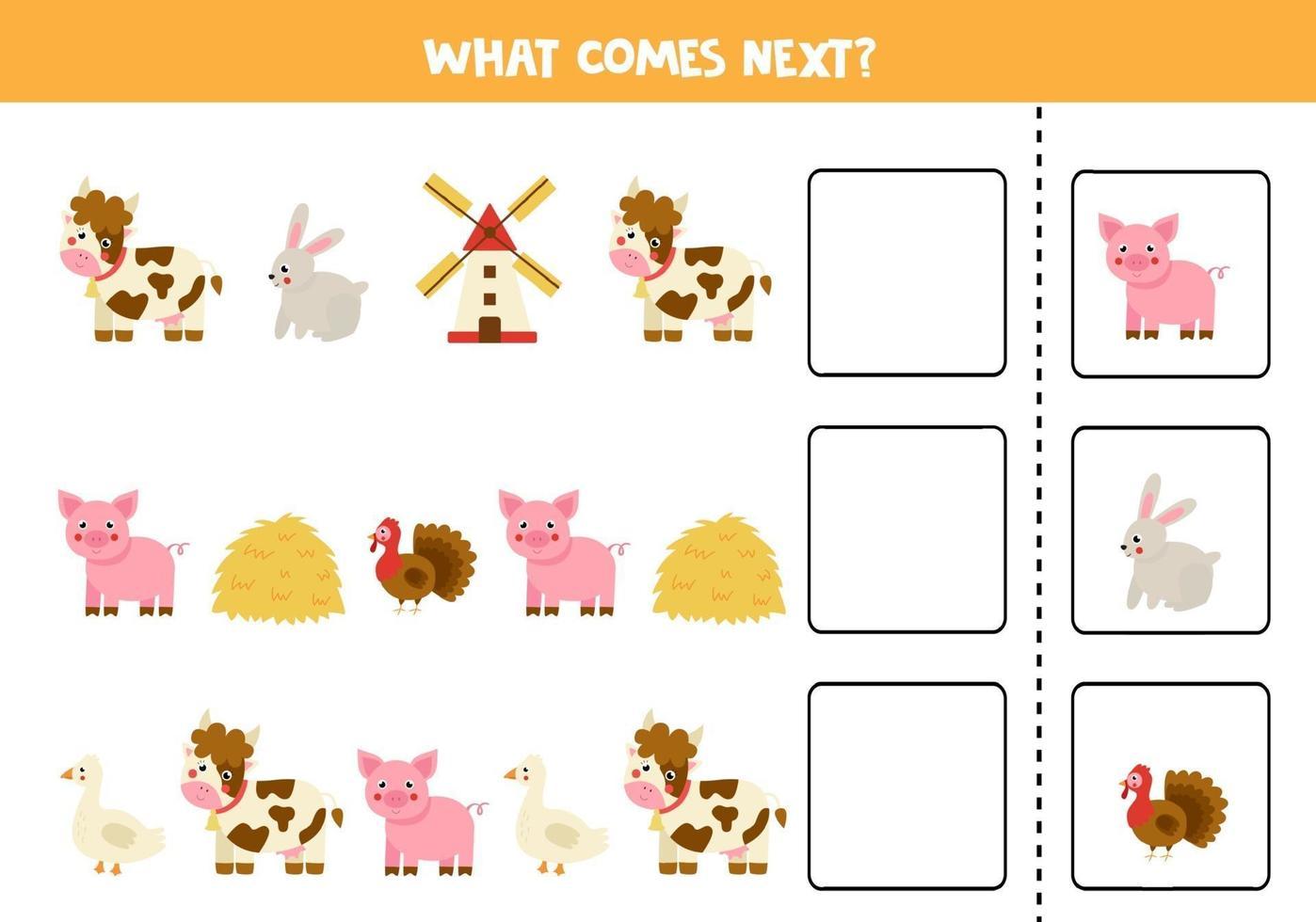 lo que viene a continuación juego con animales de granja de dibujos animados. vector