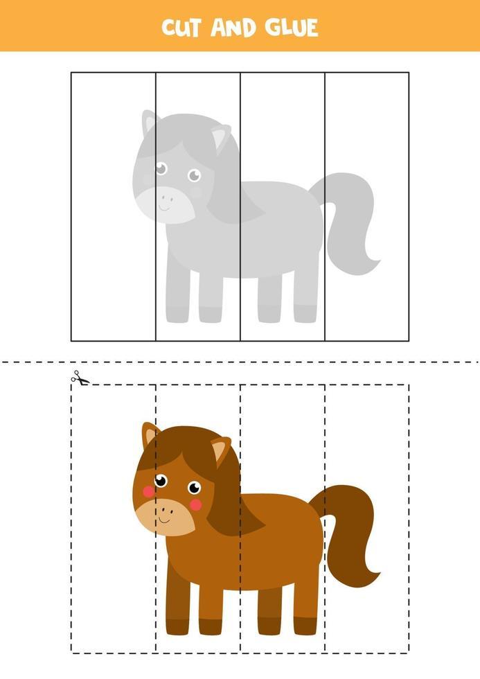 Cut and glue game for kids. Cute farm horse. vector