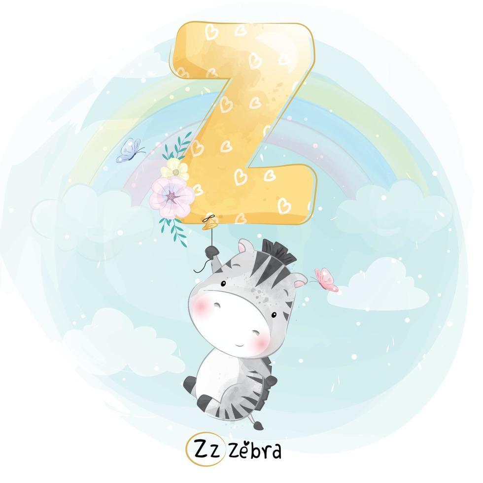 Cute zebra with alphabet Z balloon illustration vector