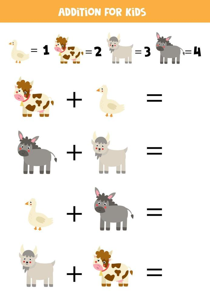 Addition worksheet with cute farm animals. Math game. vector