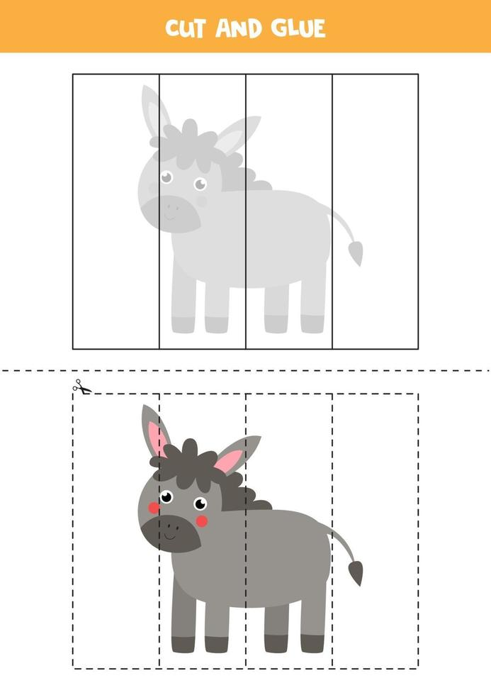Cut and glue game for kids. Cute farm donkey. vector