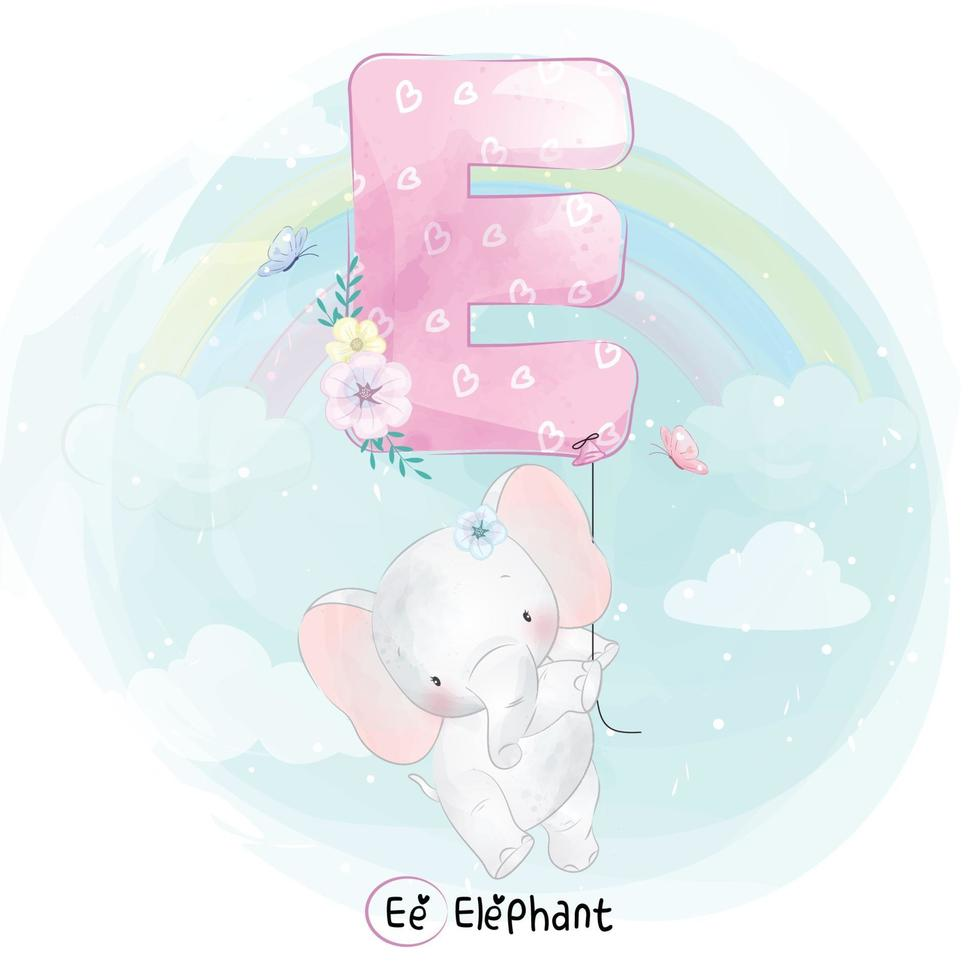 Cute elephant with alphabet E balloon illustration vector
