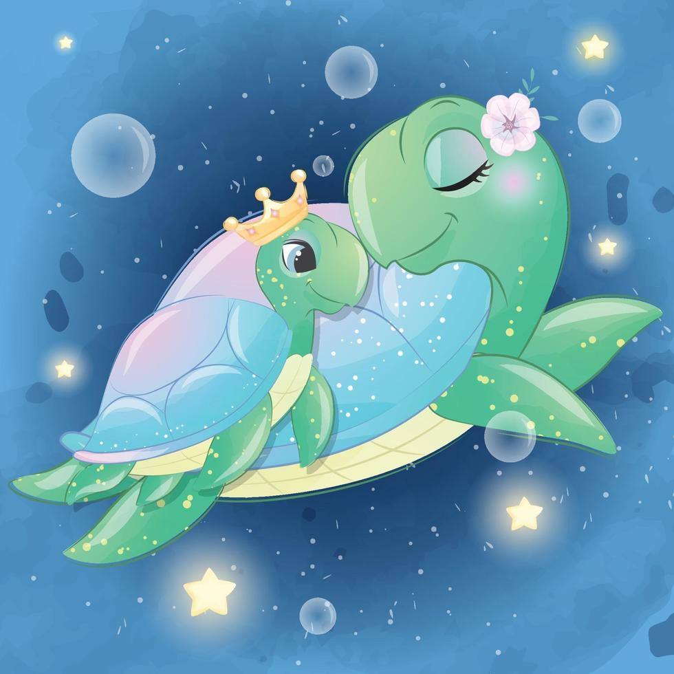 Cute sea turtle mother and baby illustration vector