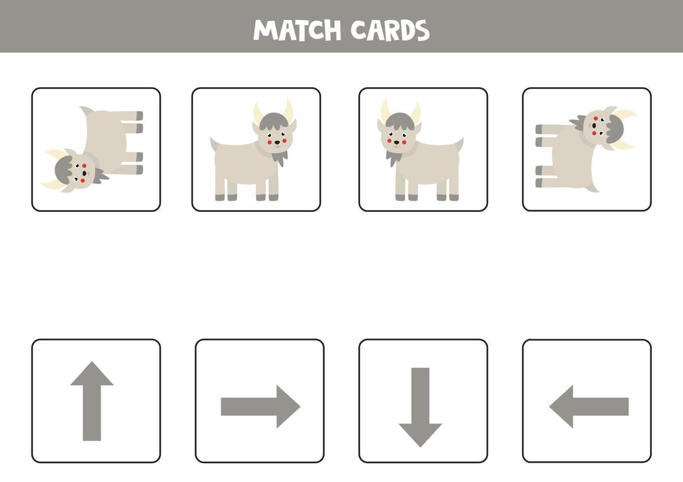 izquierda, derecha, arriba o abajo. Orientación espacial con cabra de dibujos animados. vector