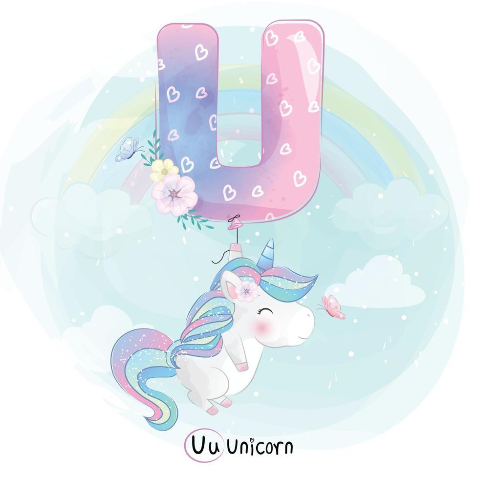 Cute unicorn with alphabet U balloon illustration vector