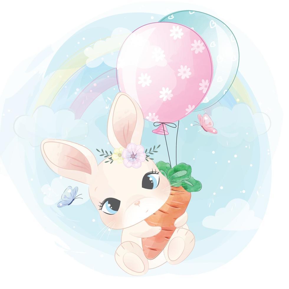 Cute bunny flying with balloon illustration vector