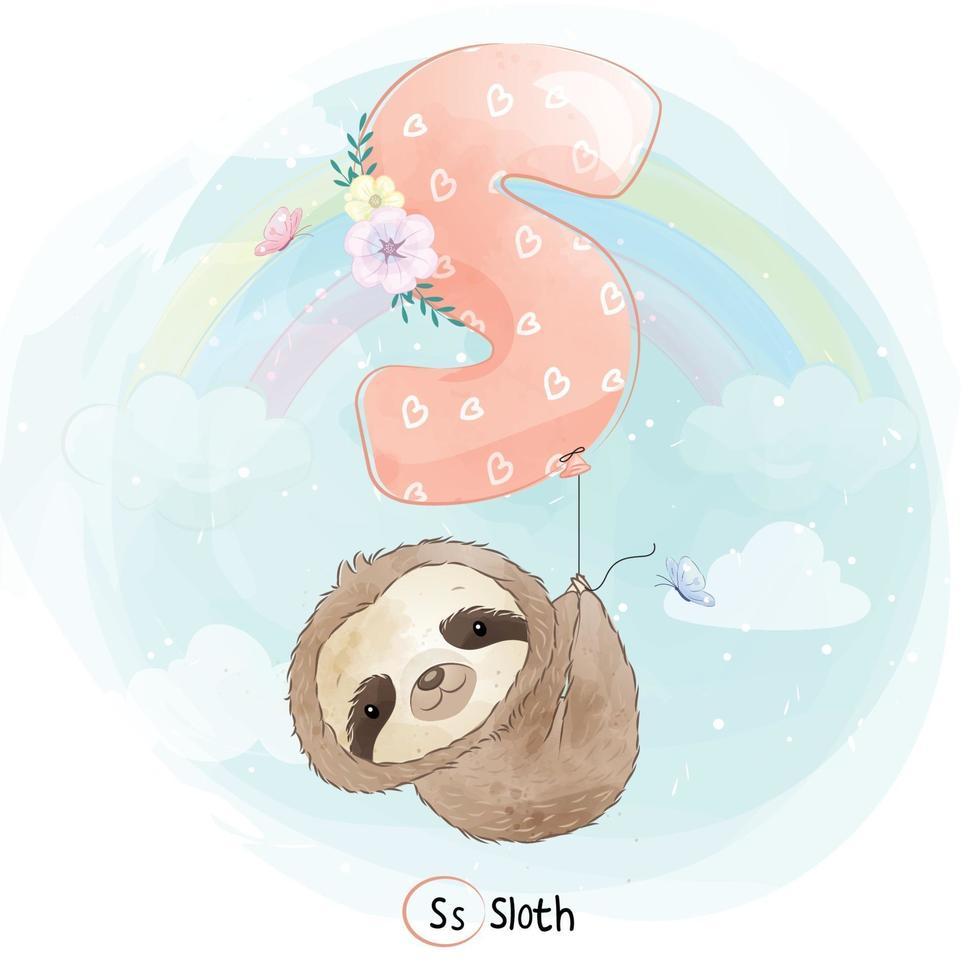 Cute sloth with alphabet S balloon illustration vector