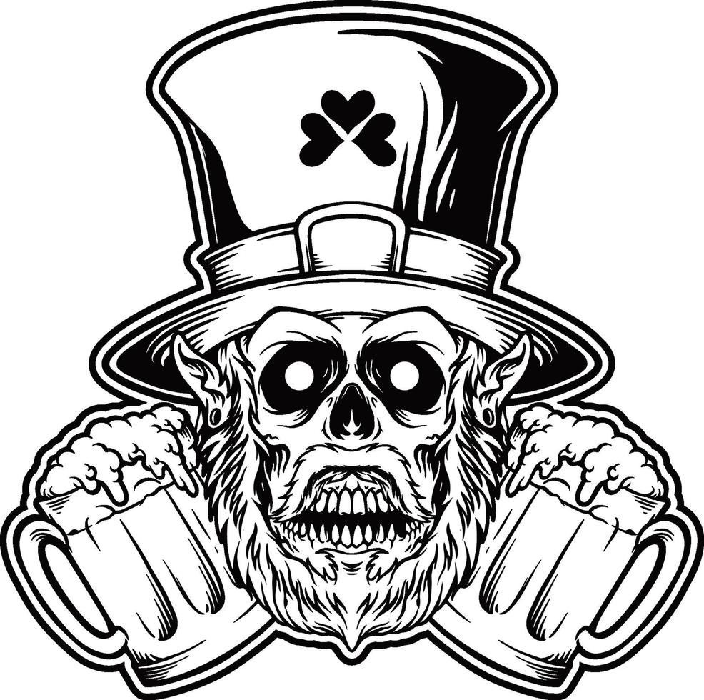 St patrick's day mascot Skull with Beer Glass Silhouette vector