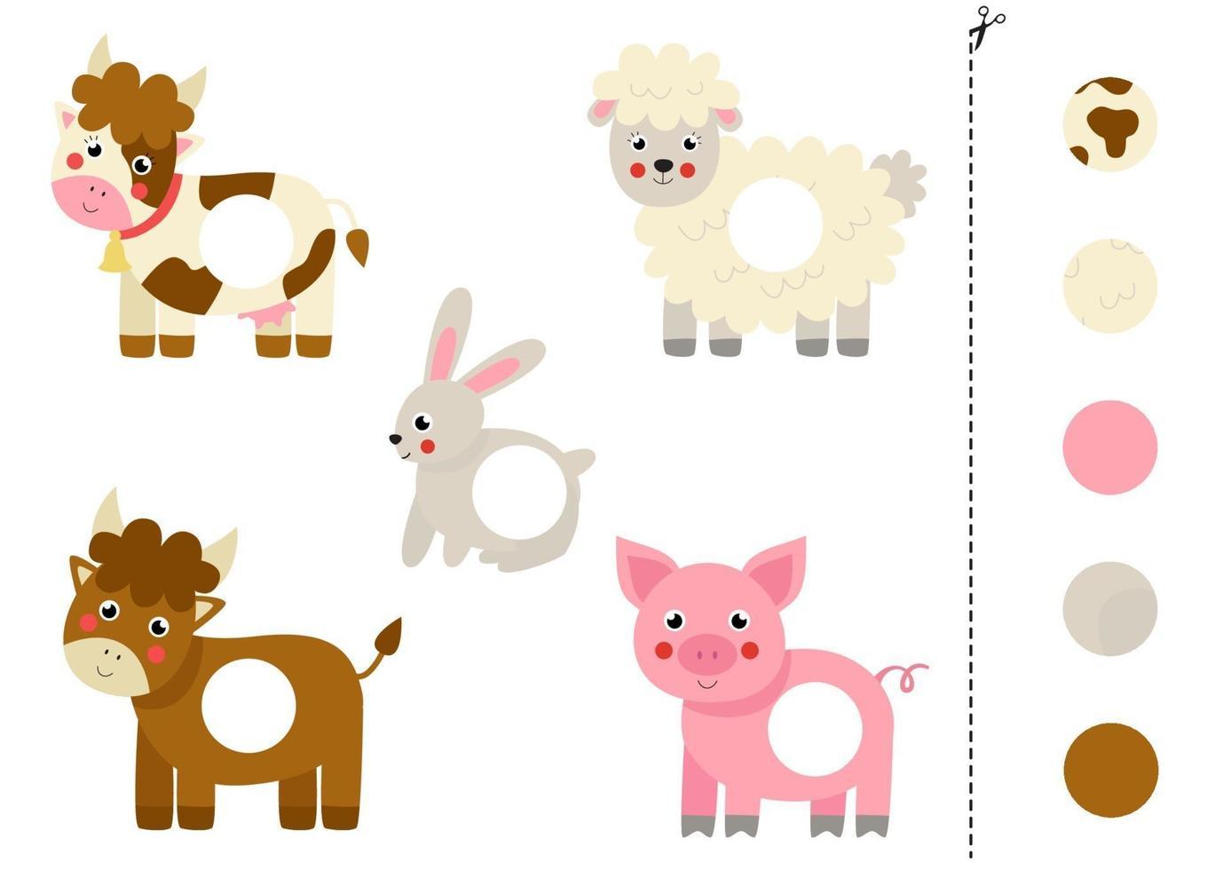 Cut and glue parts of cartoon farm animals. vector