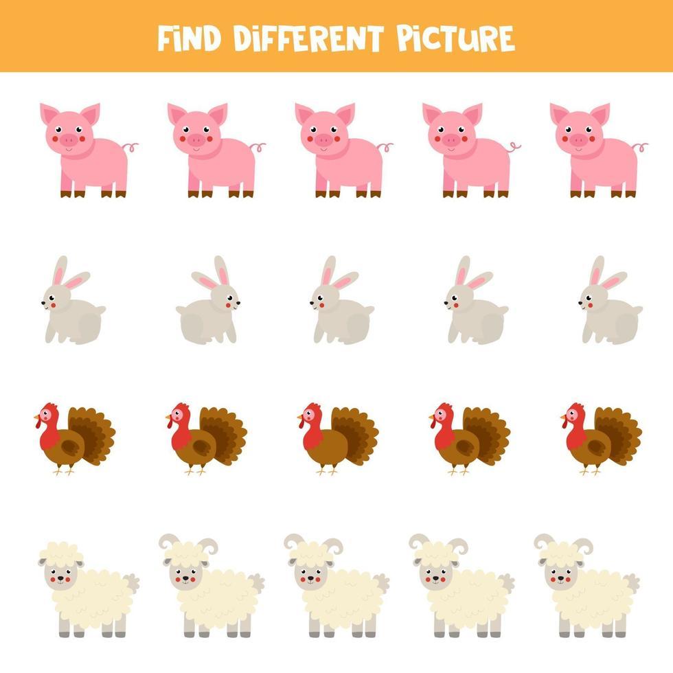 encontrar un animal que sea diferente a los demás. hoja de trabajo temática de la granja. vector