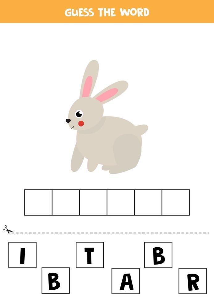 juego de ortografía para niños. conejo lindo de dibujos animados. vector