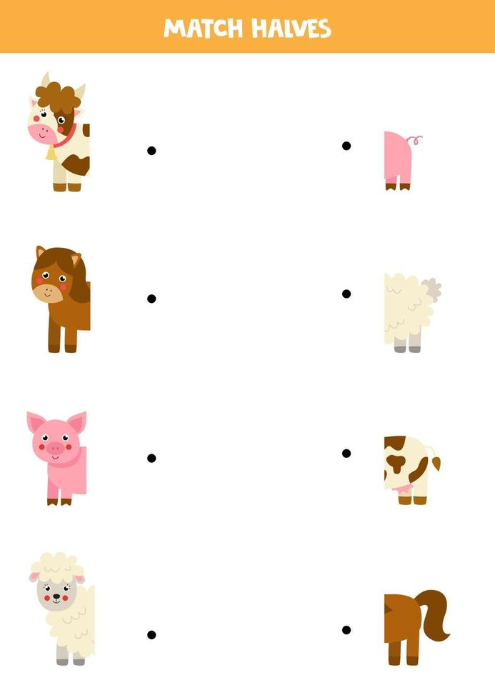 Match farm animals and their tails. Logical game for children. vector