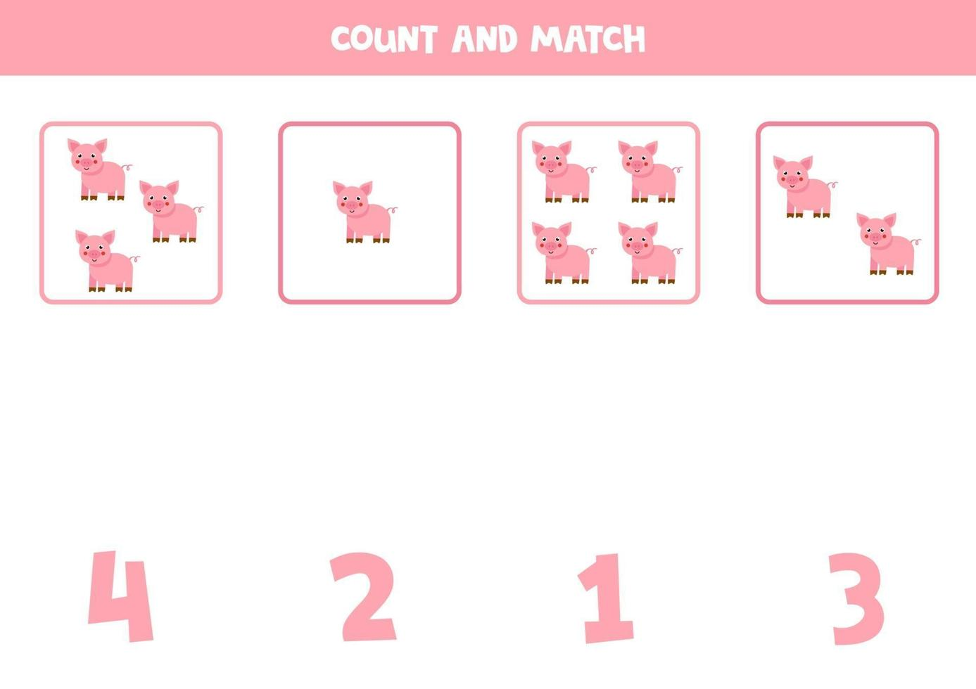 Counting game with cartoon pigs. Math worksheet. vector