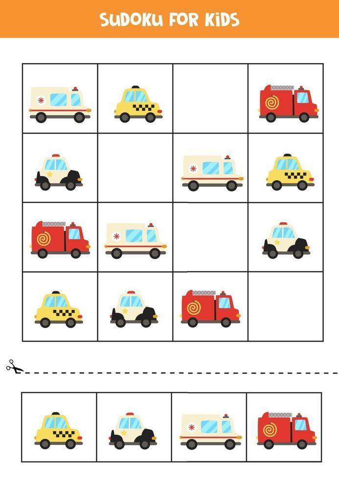 juego de sudoku con medios de transporte de dibujos animados. vector