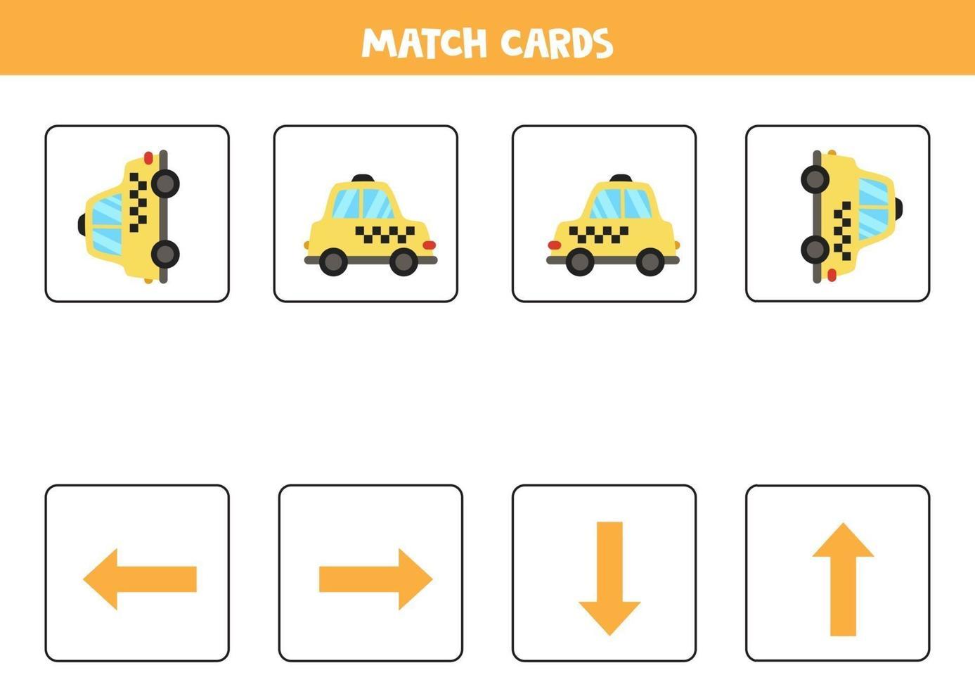 izquierda, derecha, arriba o abajo. Orientación espacial con taxi de dibujos animados. vector